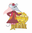 funny tatar muslim mouse sketch vector image vector image