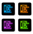 glowing neon coffee machine and coffee cup icon vector image vector image