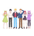 group anime characters manga girls and boys vector image