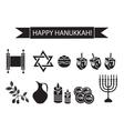 Hanukkah set black silhouette icons Chanukah vector image