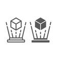 holographic image line and glyph icon rotation vector image vector image