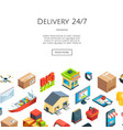 isometric logistics and delivery icons 3d vector image