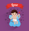 love cupid sitting in cloud hearts background vector image vector image