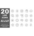 machine learning thin outline icon set with vector image vector image