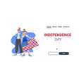 man woman in festive hats with usa flag vector image vector image