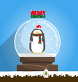 Merry Christmas penguin in snow globe vector image vector image