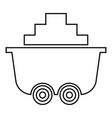mine cart or trolley of coal icon black color vector image vector image