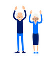 old people stand with raised hands an elderly man vector image