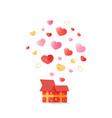 open festive box from which the hearts fly out vector image vector image