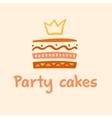 Party cakes logo Logo confectionery coffee shop vector image vector image