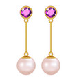 pearls earrings mockup realistic style vector image vector image
