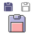 pixel icon floppy disk in three variants fully vector image vector image