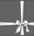 realistic white bow and ribbon vector image