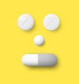 realistic white pills capsule and granule vector image