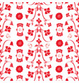 redwork flowers and butterflies repeat pattern vector image vector image