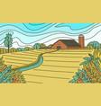 rural mountain landscape farm field and cabin vector image