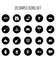 set of 20 editable camping icons includes symbols vector image vector image