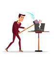 stressful businessman breaking his laptop with big vector image vector image