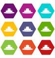 summer hat icon set color hexahedron vector image vector image