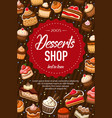sweet dessert cakes bakery pastry shop food vector image