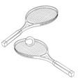 tennis rackets hand drawn sketch vector image vector image