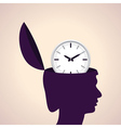 Thinking concept-Human head with clock icon vector image vector image