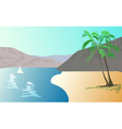 tropical landscape - beach with palm trees vector image