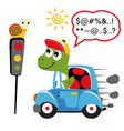 turtle driving car with snail on traffic light vector image