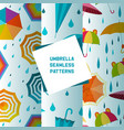 umbrella open and closed set seamless patterns vector image