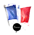 Watercolor France flag Hand drawn on white vector image vector image