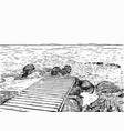 wonderful sea view pier sketch wooden port sea vector image vector image