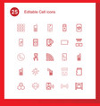 25 cell icons vector image vector image
