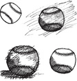 Baseball ball sketch set isolated on white vector image vector image