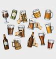 beer glass mug or bottle oktoberfest engraved vector image vector image