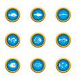 billet icons set flat style vector image