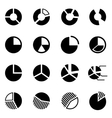 black pie chart icon set vector image