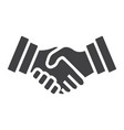 business handshake solid icon contract agreement vector image vector image