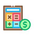 calculator coin icon outline vector image vector image