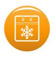 calendar winter icon orange vector image vector image