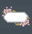 card template with text floral frame on polka dot vector image vector image