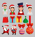 christmas decoration set icons vector image vector image