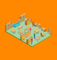 city library interior with furniture isometric vector image