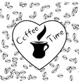 Coffee time with love and coffee beans vector image