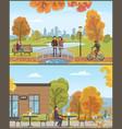 couple standing on bridge and lake set vector image vector image