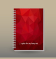 cover of diary or notebook red triangular pattern vector image vector image
