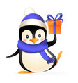 cute penguin with winter clothes and gift vector image