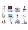 daily life everyday routine scenes young man vector image vector image
