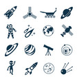 digital line icons set space and rockets vector image