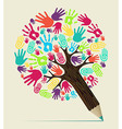 Diversity hand concept pencil tree vector image