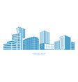 downtown silhouette buildings city center office vector image vector image